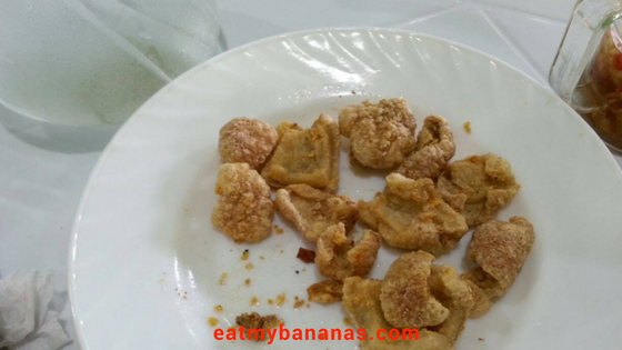 Pieces of chicharon on a white plate.