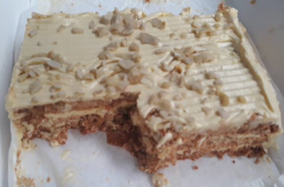 Betty's sansrival on a white plate.