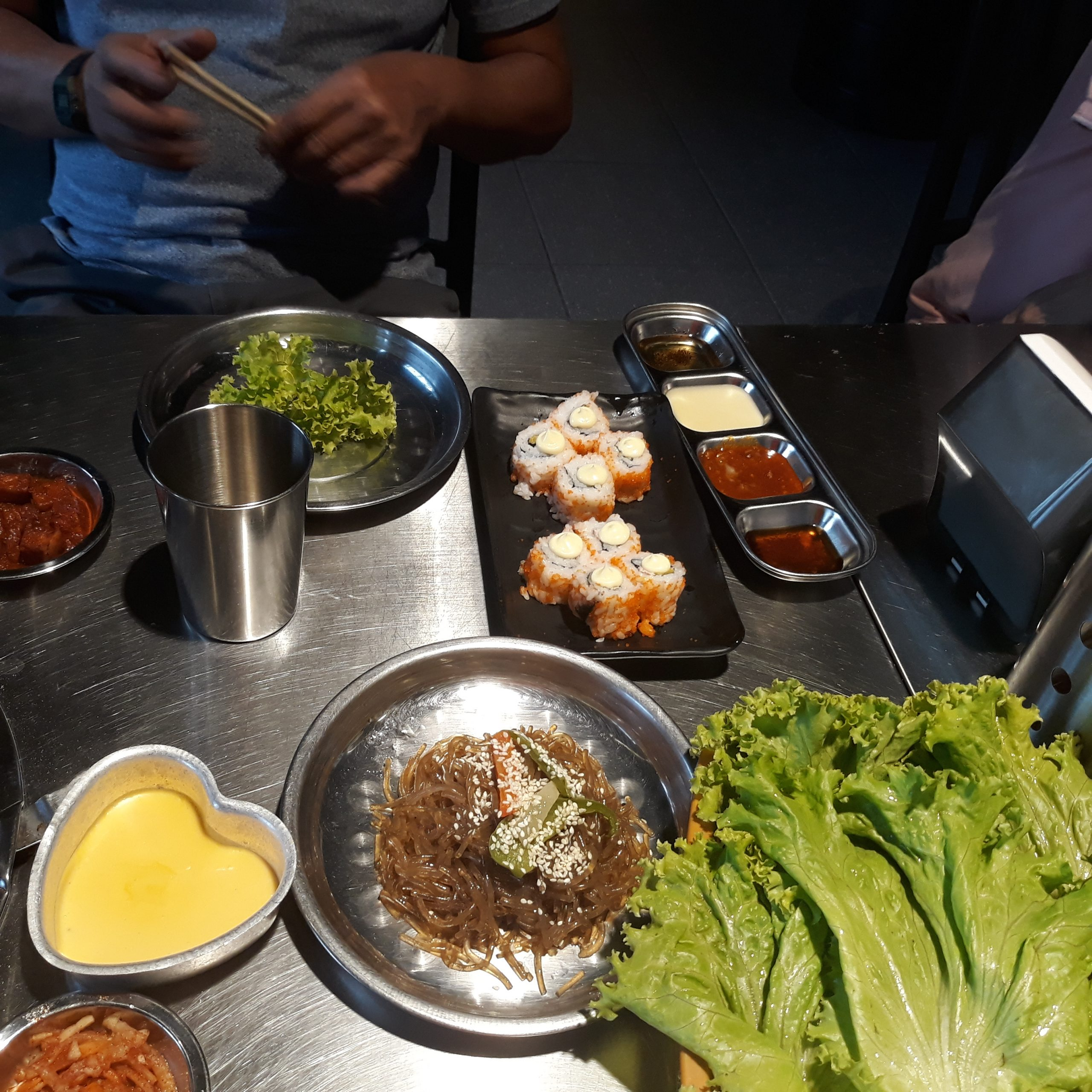 Seoulgyupsal's chap chae, California Maki, and sauces