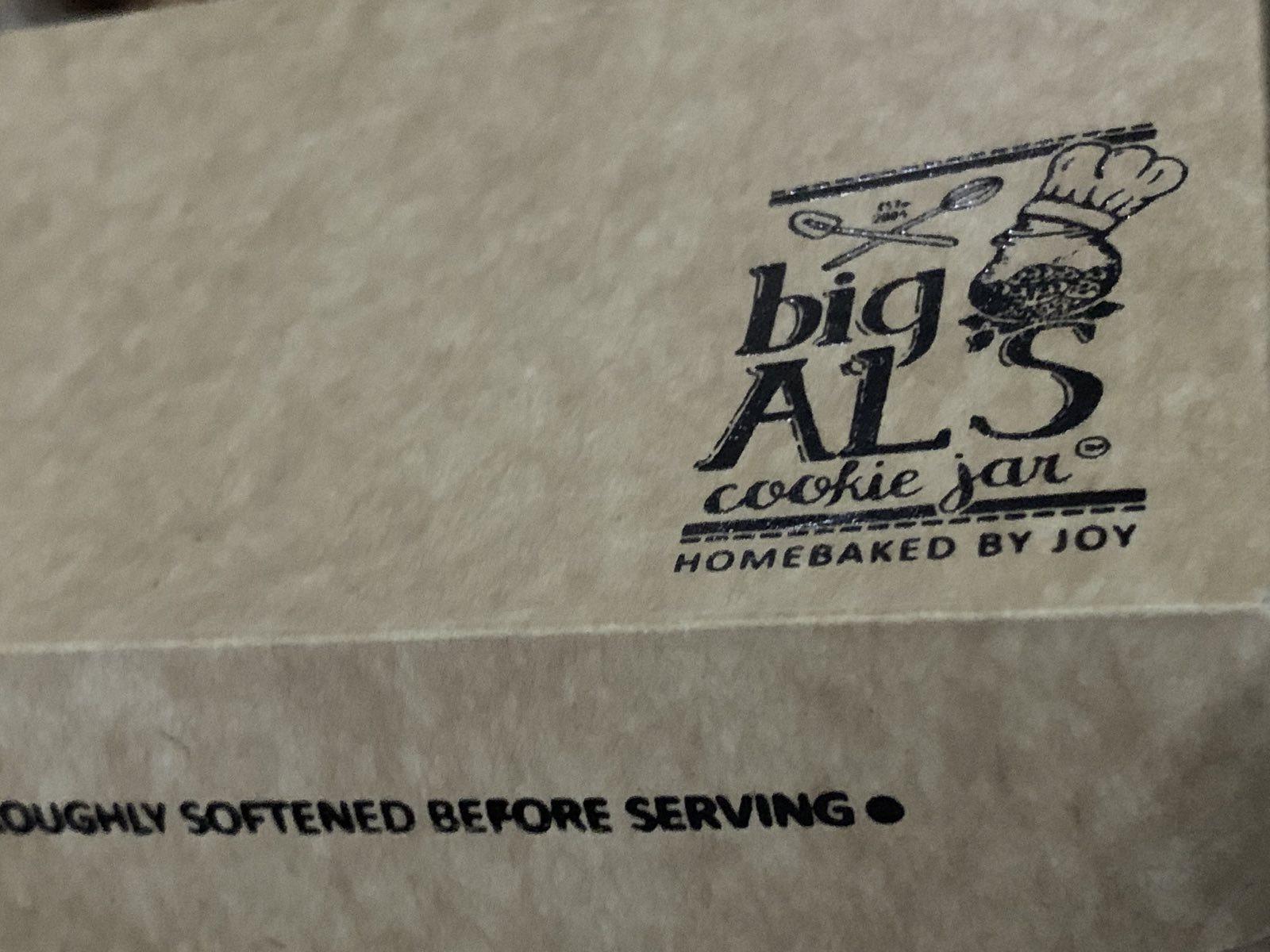 Big Al's cake box up close.