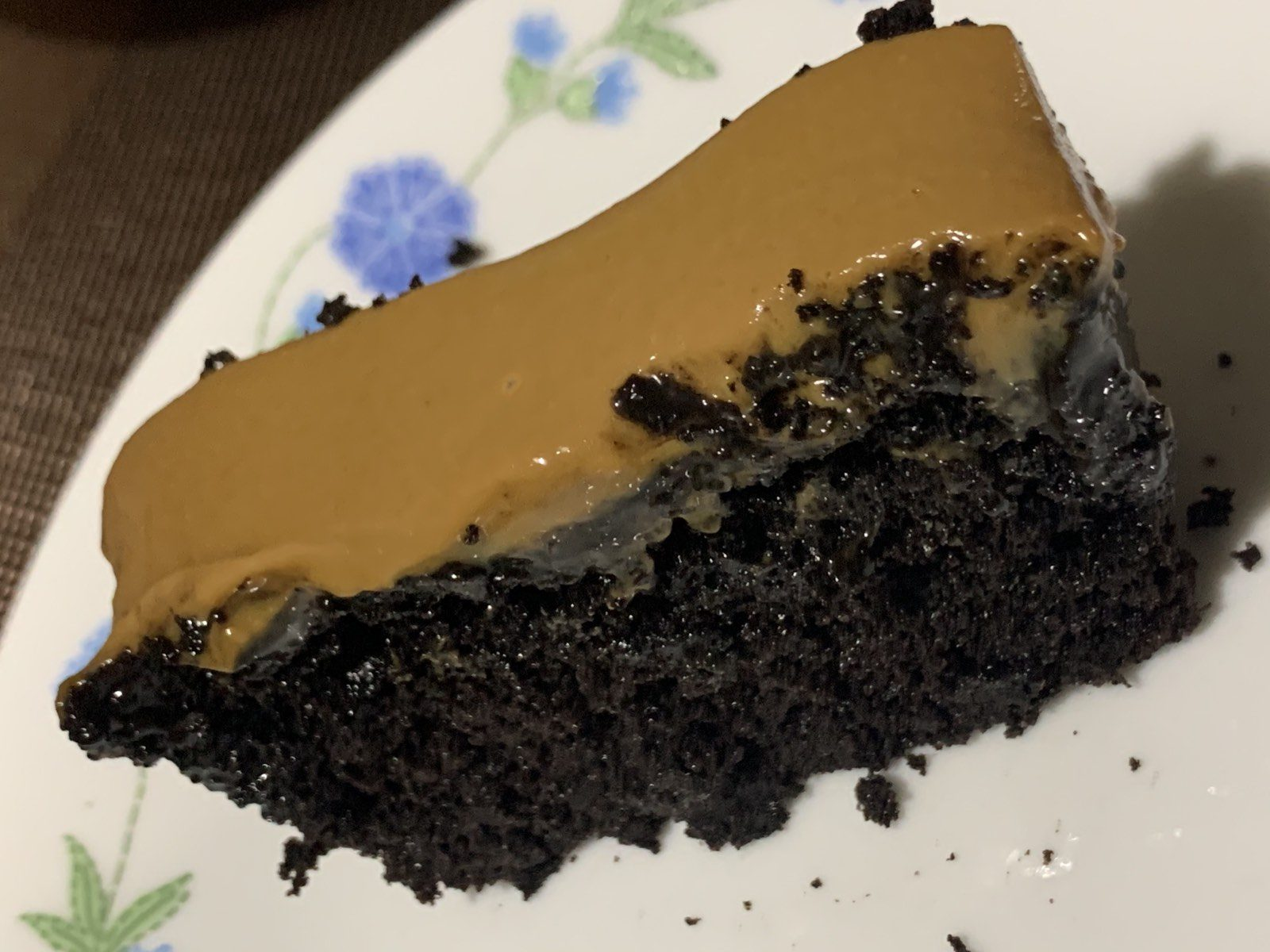 A slice of Big Al's chocolate cake with caramel topping.