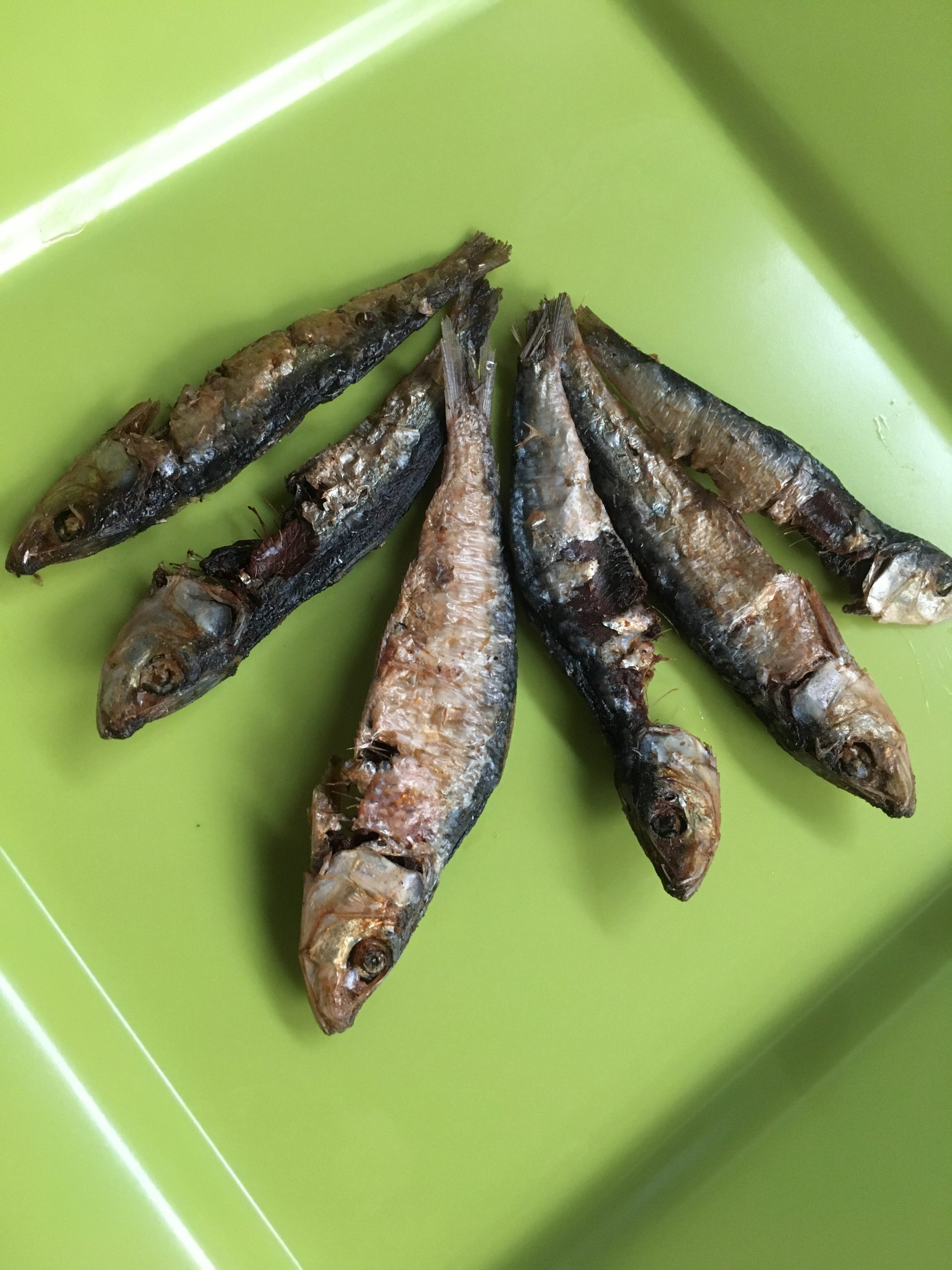 Six pieces of dried fish on a green plate.