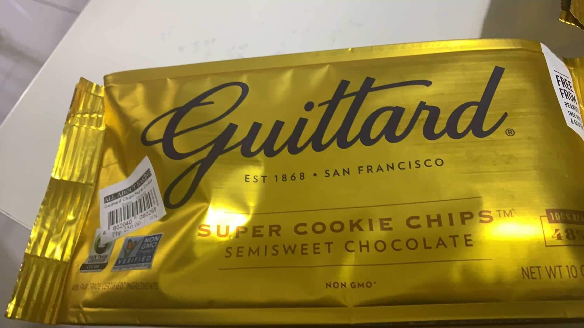 Guittard Chocolate Chips in gold package.