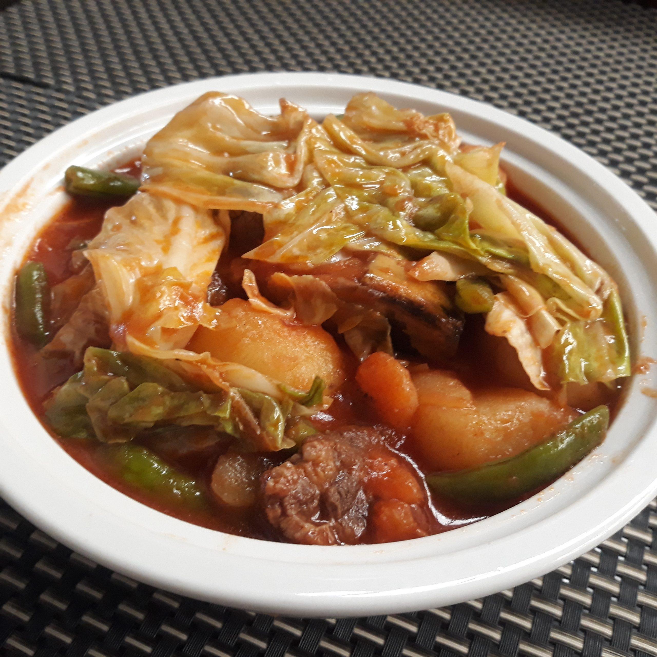 Pochero dish in a serving bowl.