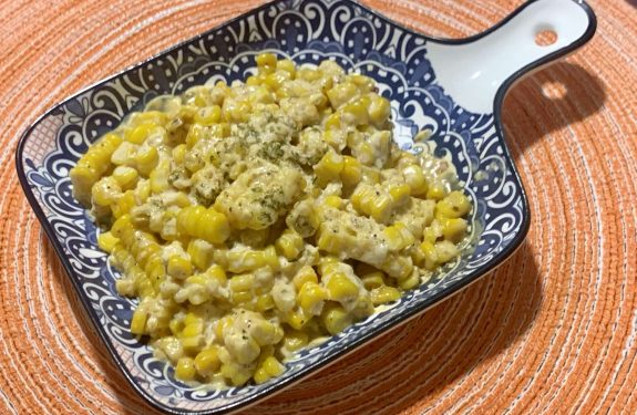 Mexican street corn on a serving dish.