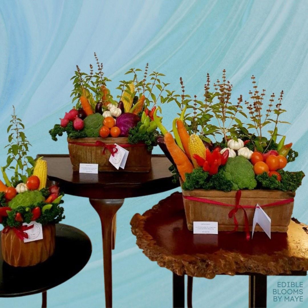 Vegetables neatly arranged to look like flowers.